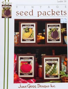 June Grigg Designs VINTAGE SEED PACKETS 1 Squash Eggplant Tomato Pole Beans - Counted Cross Stitch Pattern Chart