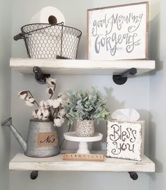 """1,130 Likes, 62 Comments - Chelsea 🌿 (@blessed_ranch) on Instagram: """"Happy Thursday! Sharing my DIY bathroom shelves today. We used plumbing pipes for the hardware.…"""""""