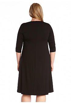 Karen Kane Plus Size Black Swing Dress #Karen_Kane #LBD #Plus_Size #Black #Swing #Party #Dress #Plus #Size #Fashion #KarenKane #Plus_Size_Fashion #Belk