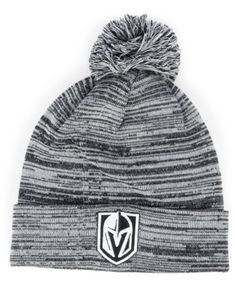 dc3fbb95a23 Authentic Nhl Headwear Vegas Golden Knights Black White Cuffed Pom Knit Hat  - Black Adjustable