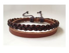 Brown Braid leather bracelet man, Leather Wrist Band Wristband Handcrafted Jewelry. $6.50, via Etsy.