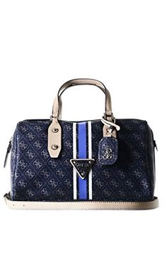 GUESS Women's Logo Sport Blue Box Satchel Handbag
