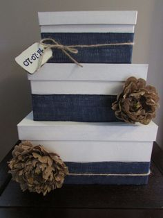 Three Tier Rustic Wedding Card Box, Gift Card Box, Gift Card Holder, Navy Blue Ribbon with Date Tag on Etsy, $75.00
