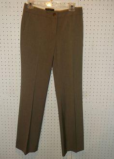TALBOTS Womens Size 2 Tan Flat Front Career Dress Pants ~ Signature Boot #Talbots #DressPants