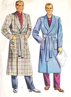 1940s Men's Shawl Collar Robe Smoking Jacket Bathrobe Vintage Sewing Pattern McCall's 5465 Mens Size 34 to 36
