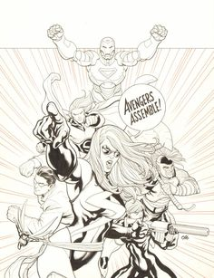 Anthony's Comic Book Art :: For Sale Artwork :: Mighty Avengers, The #1 Cover - LA - Ms. Marvel, Iron Man, Sentry, Wonder Man, Black Widow, Wasp, & Ares - ''Avengers Assemble!'' - 2007 Signedby artist Frank Cho