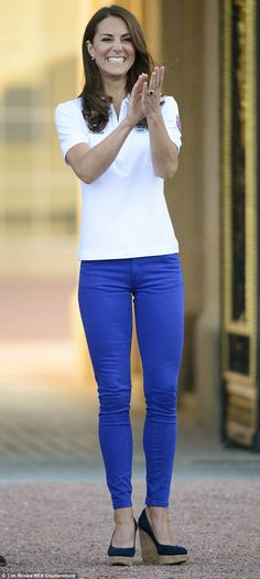 The Duchess looked relaxed in blue Zara jeans as she watched the Olympic Torch Relay pass Buckingham Palace in 2012