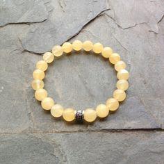 Genuine Yellow Calcite Bracelet w/ Sterling Silver Charm