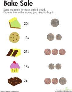 Kindergarten Money Worksheets: Bake Sale