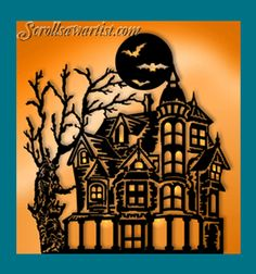 Scroll Saw Patterns :: Holidays :: Halloween :: Haunted house -