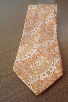 Mens Vintage Tie // Gold and Red Print Vintage Tie by BeastVintage, $29.00