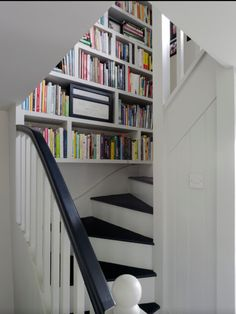 Bookcase in stairwell.