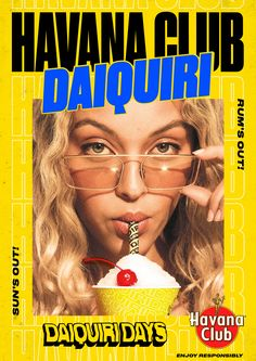 Havana Club Daiquiri - Fonts In Use Graphisches Design, Club Design, Retro Design, Cover Design, Layout Design, Graphic Design Posters, Graphic Design Illustration, Havana Club, Poster Layout