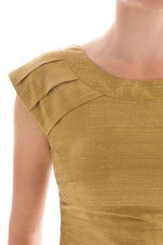 Aneka Truman Gold Handloomed Silk Cap Sleeves Peplum by MadetoSew Kurti Sleeves Design, Kurta Neck Design, Sleeves Designs For Dresses, Neckline Designs, Dress Neck Designs, Blouse Designs, Salwar Designs, Kurta Designs Women, Girls Frock Design