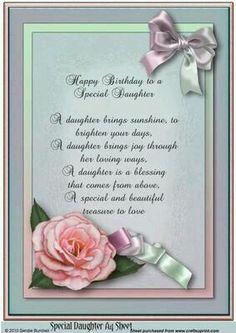 Birthday greetings for daughter quotes poem ideas Birthday Verses For Daughter, Happy Birthday Quotes For Daughter, Birthday Poems, Birthday Wishes Quotes, Happy Birthday Messages, Happy Birthday Greetings, Birthday Images, Daughter Quotes, 50th Birthday