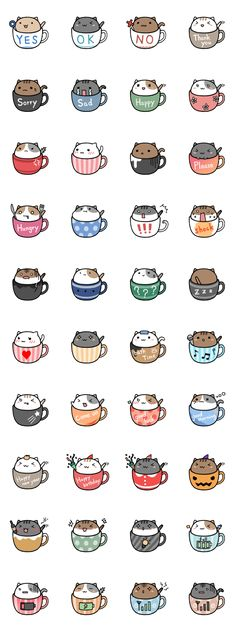 Neko cat kitty coffee mug tea mug kawaii Nian café ❤ melhor lugar Chat Kawaii, Arte Do Kawaii, Kawaii Cat, Kawaii Stuff, Kawaii Things To Draw, Kawaii Names, Kawaii Chibi, Cute Chibi, Anime Pokemon