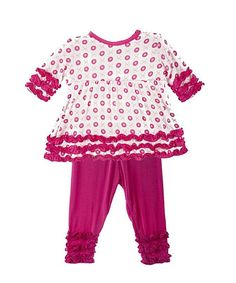 Look at this KicKee Pants Pink Jacks Babydoll Tunic  Leggings - Infant, Toddler  Girls on #zulily today!