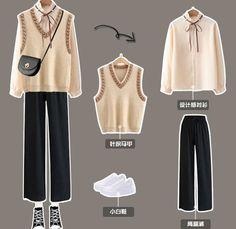 Korean Girl Fashion, Korean Street Fashion, Ulzzang Fashion, Hijab Fashion, Fashion Outfits, Cute Casual Outfits, Simple Outfits, Prom Dresses Long With Sleeves, Fashion Photo