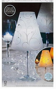 12 Wine Glass Decor White LACE VELLUM Lamp Shades David Tutera Wedding Table NIB