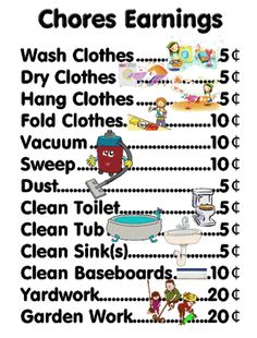 Allowing your child earn money for their hard work with this handy dandy chores chart. Even preschoolers can learn to appreciate the hard work it takes to keep a household running smoothing.