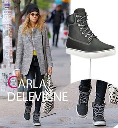 Cara Delevigne wearing the new Timberland boot