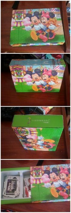 Caja de cartón primero pintada de blanco y luego con decoupage