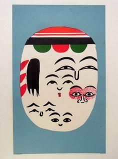 Japanese Print Kokeshi Faces by Norinaka por JapanesePrintsPlus