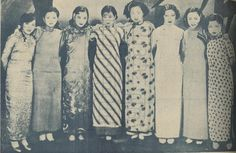 """A collection of women in fashionable dresses - eight actresses from the """"Stars Movie Studio"""" in Shanghai. From right to left they are: Gu Meijun, Liang Saizhen, Yan Yuexian, Wei Xiubao, Hu Die, Xia Peizhen and two unknowns.    ladfish.com"""