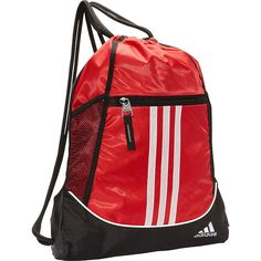 Adidas Alliance Ii Sackpack ($15) ❤ liked on Polyvore featuring bags, backpacks, red, school & day hiking backpacks, adidas bag, draw string bag, embroidered backpacks, pocket backpack and mesh backpack