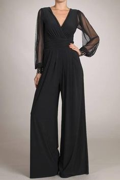 Black Embellished Cuffs Mesh Long Sleeves Wide Leg Jumpsuit - Jumpsuits and Romper Jumpsuit Elegante, Mesh Long Sleeve, Jumpsuit Outfit, Jumpsuits For Women, Look Fashion, Wide Leg, Evening Dresses, Fashion Dresses, Romper Outfit