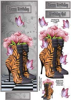 Ladies Tiger Print Shoe DL on Craftsuprint designed by Karen Wyeth - A gorgeous ladies tiger print floral shoe quick card topper - to suit a DL style card front. An additional shoe topper, butterfly embellishments, sentiment panel toppers and mini shoe image for adding to the card insert/envelope - are also included on the design sheet. xk - Now available for download!