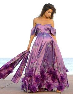 Amethyst Formal Maternity Gown With or Without Sleeves