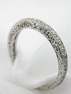 Filigree and Diamond Antique Style Wedding Band, by DaisyCombridge