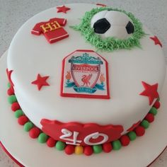 Football themed birthday cake for a Liverpool FC fan