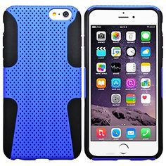 """myLife 2 Layer Neo Hybrid Bumper Case for iPhone 6 Plus (5.5"""" Inch) by Apple {Deep Sky Blue + Black """"Perforated Mesh Net Cool Design"""" Two Piece SECURE-Fit Rubberized Gel} myLife Brand Products http://www.amazon.com/dp/B00P9ZT0NO/ref=cm_sw_r_pi_dp_0Q5yub03AHY95"""