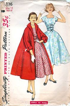 50's Square Neckline Full Skirt Dress Trapeze Coat Size 12 Bust 30 Simplicity 1016. $16.00, via Etsy.