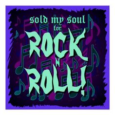 Sold My Soul For Rock N Roll Bandana, Purple Green Blue Print, for Hallowe'en or whenever you want to howl!