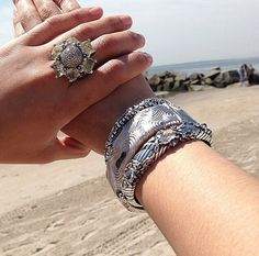 Stephen Dweck arm party and diamond ring.