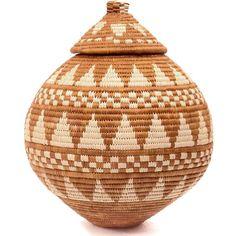 African Basket - Zulu Ilala Palm - Ukhamba -  9.75 Inches Tall - #49491