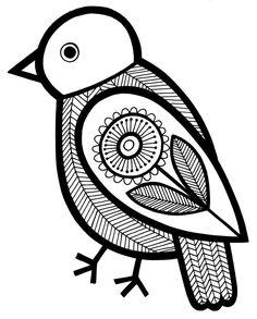Lino Art, Bird Stencil, Scandinavian Folk Art, Coloring Book Art, Indian Folk Art, Art Addiction, Madhubani Painting, Bird Design, Design Design
