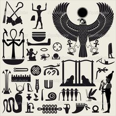 egyptian symbol stencils | Egyptian Symbols and Sign SET 2 | Stock Vector © ArtyUP #5872428