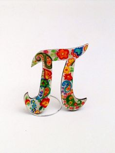 Hand painted personalized wooden brooch jewelry, crystal resin coated, pin finding, Greek Letter Π (pi)
