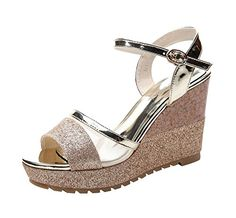 TGrade Women Fashion Elegant Peep Toe Ankle Strap Sling Back Rubber Sole Platform Wedge Sandals8 BM US Gold ** Continue to the product at the image link.(This is an Amazon affiliate link)