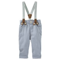 Take it back to the classics with seersucker and suspenders. Pair these with a button-front and cardigan for a handsome little-man look.