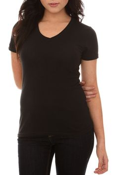 HOT TOPIC Basic Black V-Neck Shirt
