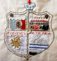 family crest mixed media fabric inspired by heather bullard
