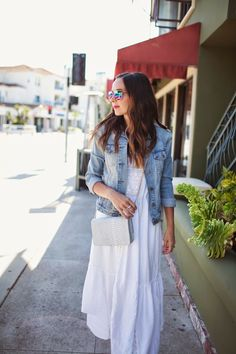 white maxi, denim jacket, crossbody bag, aviators, bright pink lips