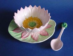 Carlton Ware Pink 'Water Lily' Preserve Dish and Spoon c1936