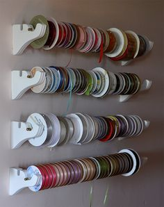 64 trendy Ideas craft room organization tips ribbon holders Ribbon Organization, Ribbon Storage, Sewing Room Organization, Craft Room Storage, Craft Rooms, Organizing Ideas, Storage Ideas, Storage Hooks, Ideas For Craft Room