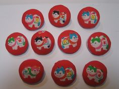 Cute buttons made from inu-hariko patterned cloth